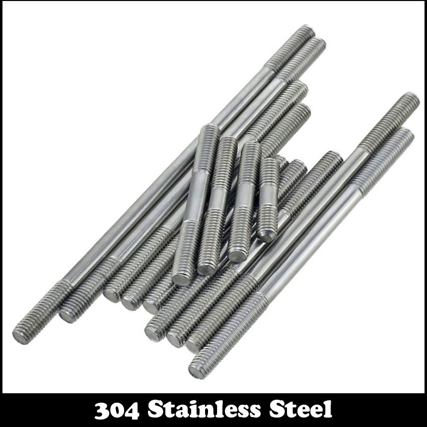 3pcs M10 60mm M10 60mm Thread Length 25mm 304 Stainless Steel Dual Head Screw Rod Double End Screw Hanger B Threaded Rods Stainless Steel Rod Stainless Steel