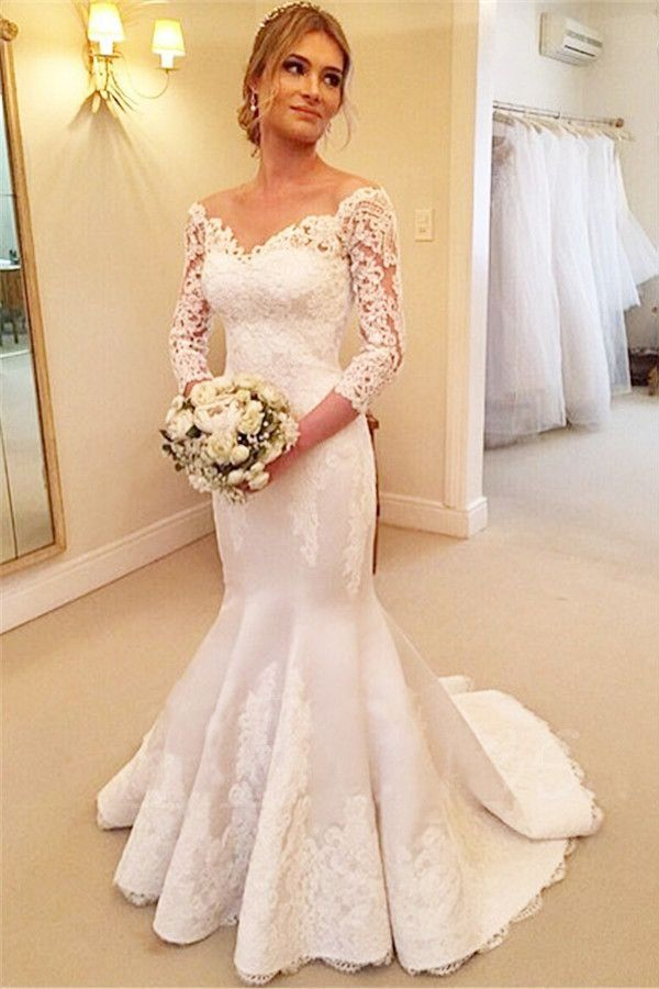 Lace V-Neck 3/4 Sleeves Buttons Mermaid Wedding Dress Ball Gowns ...