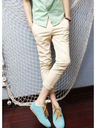 Candy Color Pencil Cotton Light Khaki Pants