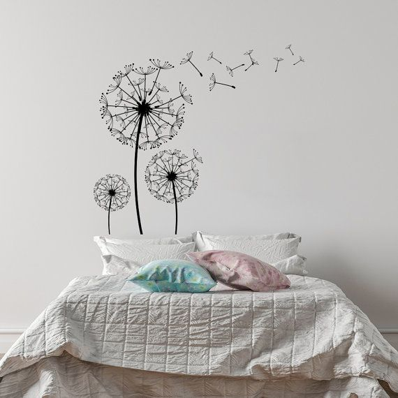 Dandelion Blossom Wall Decal- Dandelion Flower Vinyl Wall Decal - wandtattoos fürs schlafzimmer