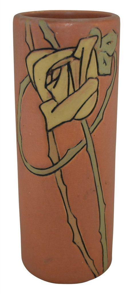 Weller Pottery Etched Rose Matte Salmon Glaze Vase