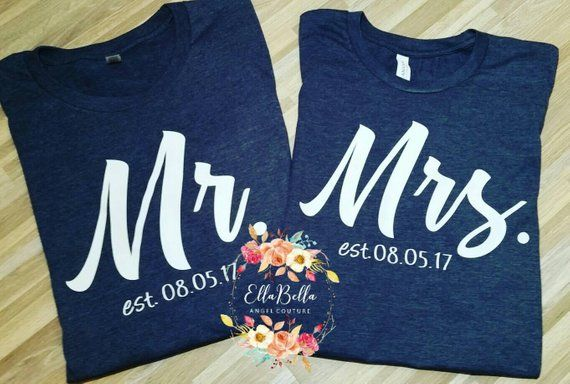 5c7ea3d2cb Personalized Wedding Shirts, Engagement shirts, His and her shirts, Bride  and Groom shirts with date