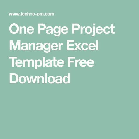 One Page Project Manager Excel Template Free Download excell