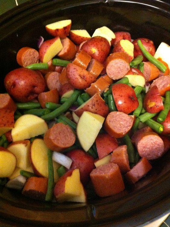 Kielbasa Pot Crock Beans Potatoes