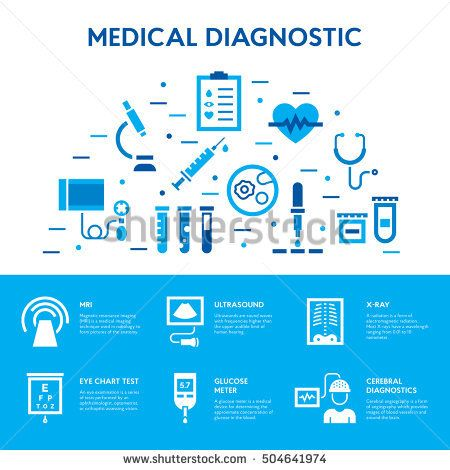 Medical diagnostic icon set Vector test signs banner design - blood glucose chart template