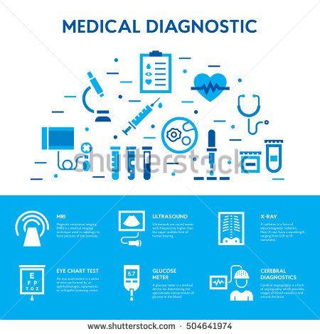Medical Diagnostic Icon Set Vector Test Signs Banner Design