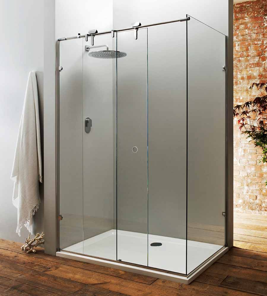 A bespoke frameless sliding shower door with fixed side for Solid glass shower doors