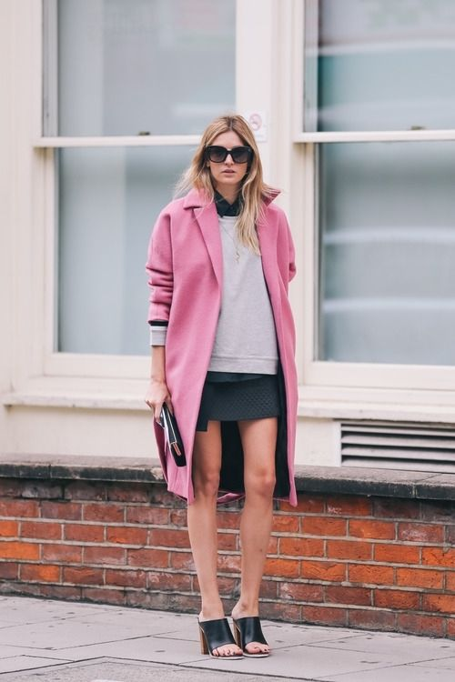 what to wear with a pink coat