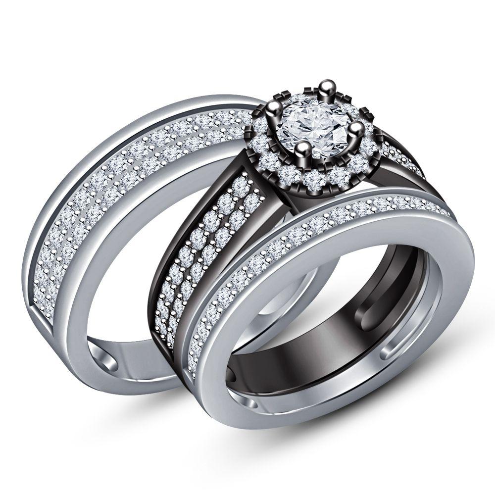 Women's Engagement Ring Men's Band Trio Set 14k Gold