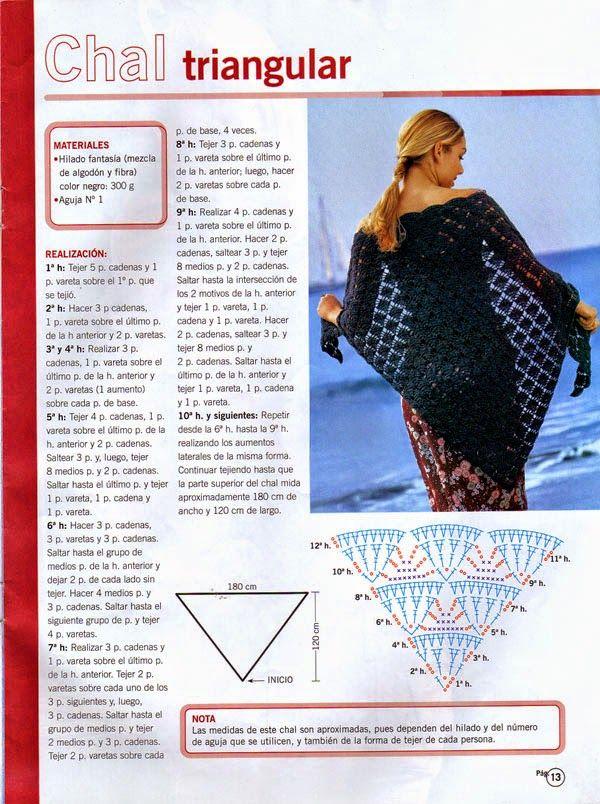 patrones chal triangular ganchillo | Crochet bufandas, gorros y ...