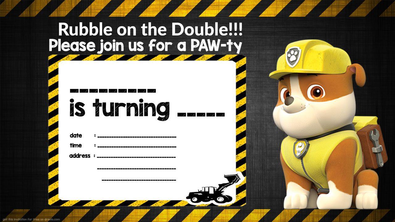 Free Printable Rubble Paw Patrol Invitation Template Birthday