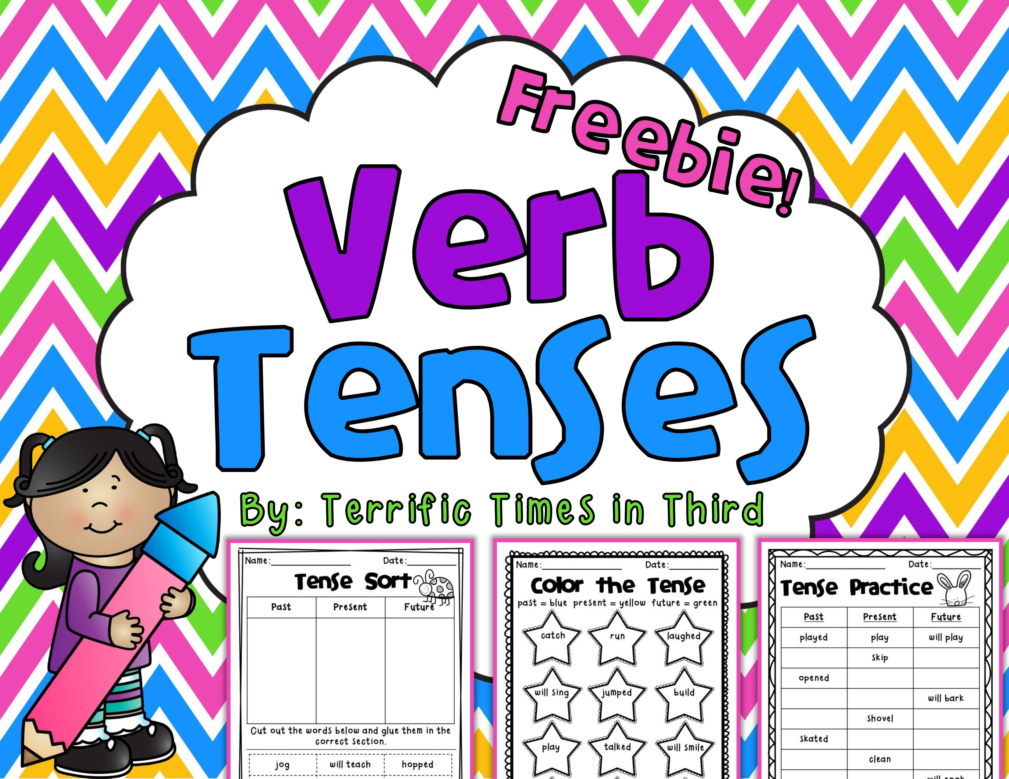 Verb Tenses Freebie Printables For Past Present And