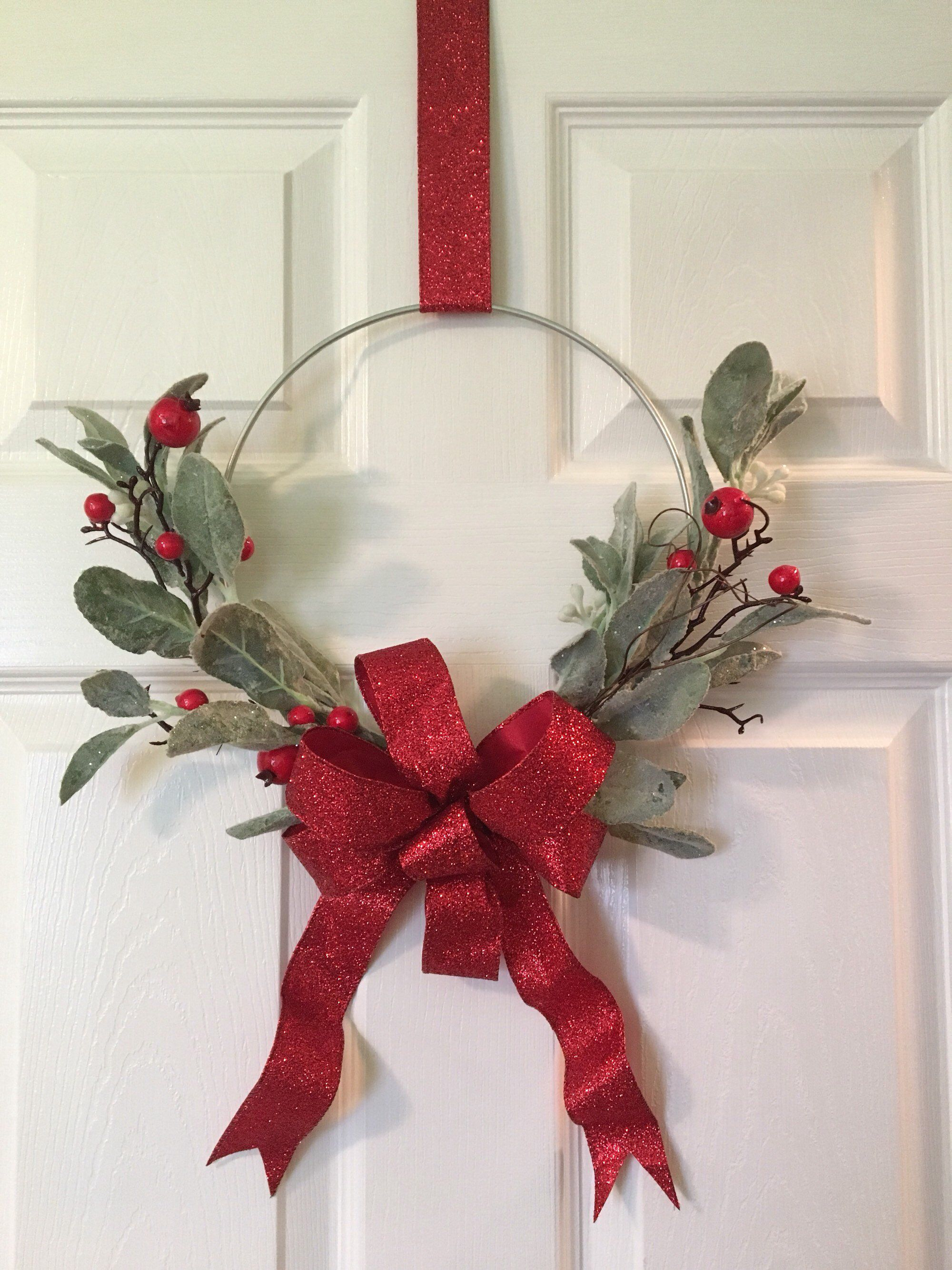 SOLD Excited to share the latest addition to my #etsy shop: Metal Hoop Wreath, Christmas Hoop Wreath, Christmas Wreath, Berry Wreath, Holiday Decor , Modern Style Wreath, Christmas Modern Wreath