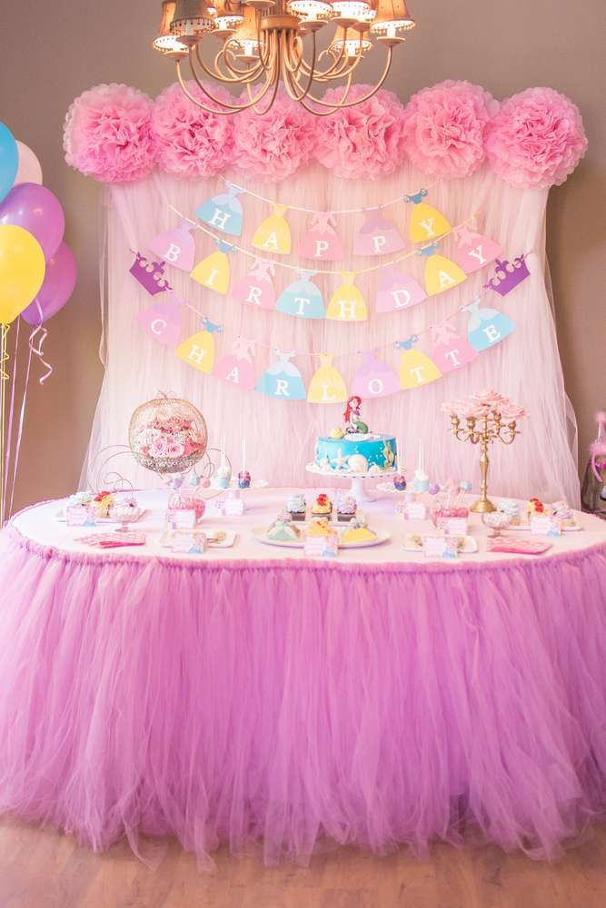 Dessert Table At A Disney Princess Birthday Party See More Ideas CatchMyParty