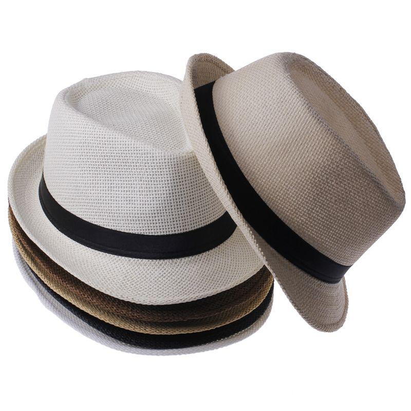 Aliexpress.com  Comprar Moda de Verano de Paja Sombreros de Sun de Las Mujeres  de Fedora Del Sombrero Flexible del Gángster Cap Beach Summer Sun Paja ... 80f16feb489