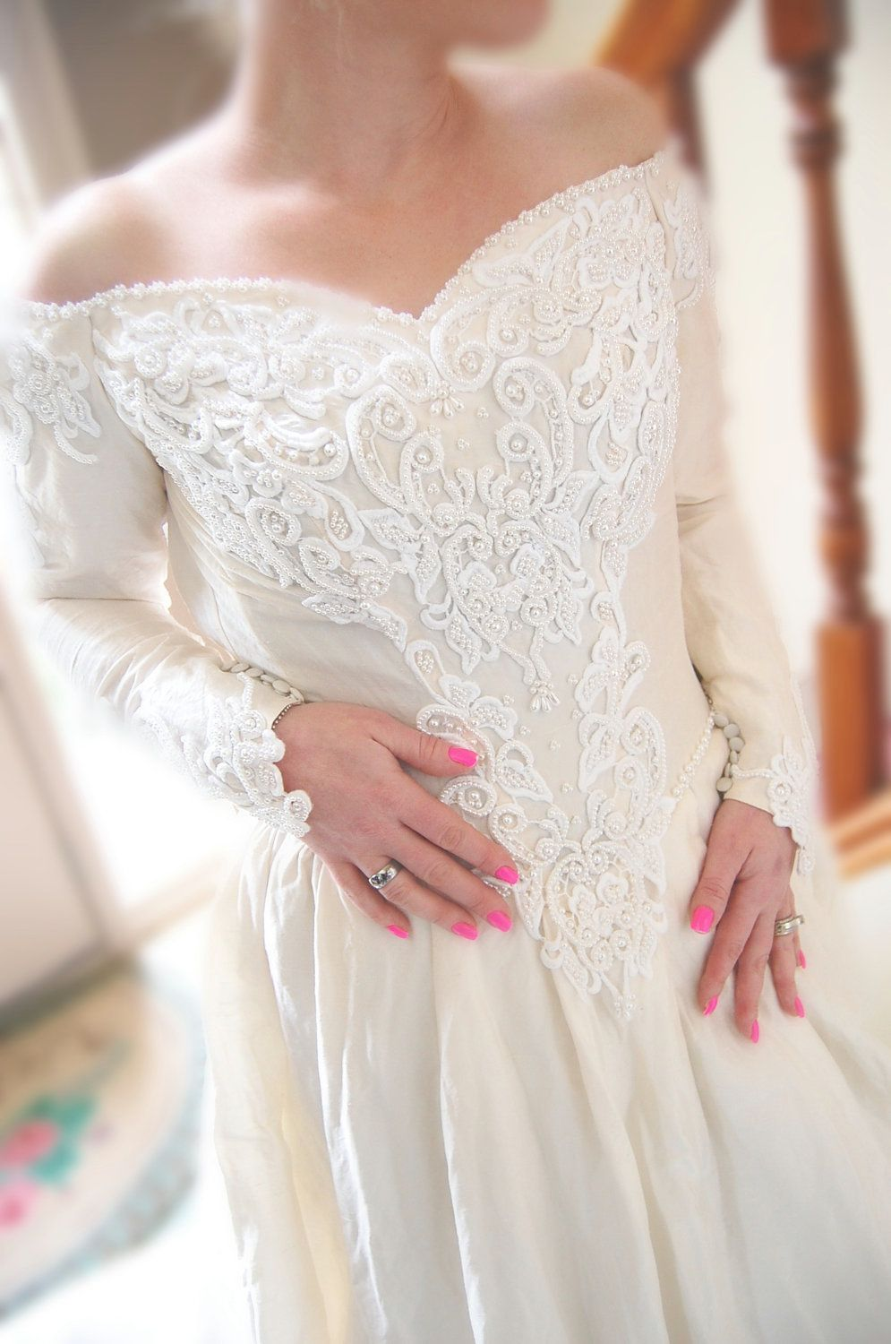 Image Result For Wedding Dress With Pointed Sleeves Wedding Dress Blog Silk Wedding Gown Wedding Dresses [ 1500 x 995 Pixel ]