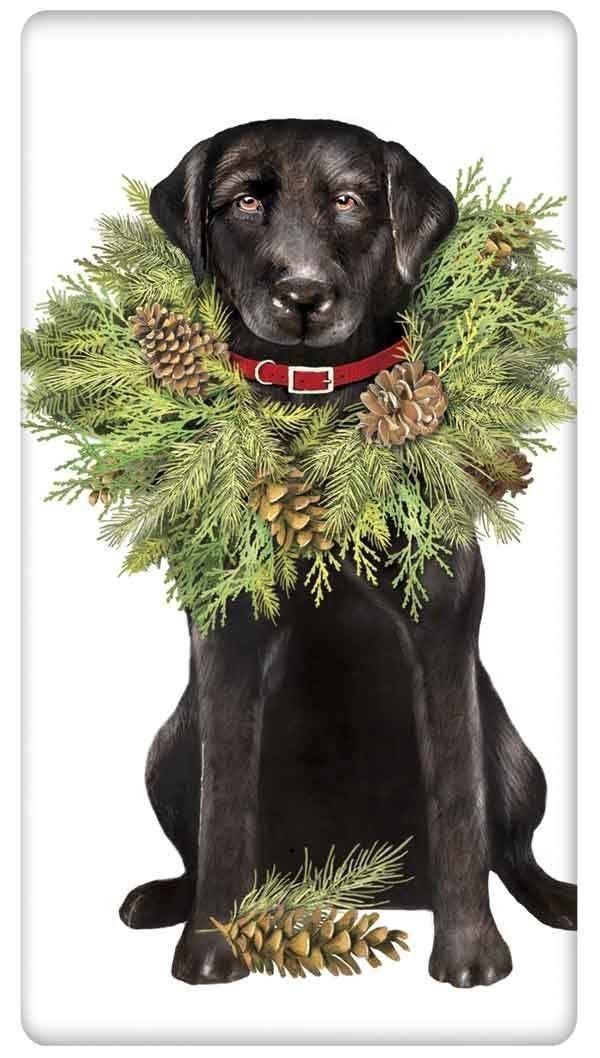 Festive Black Labrador Retriever with Wreath Christmas 100% Cotton ...