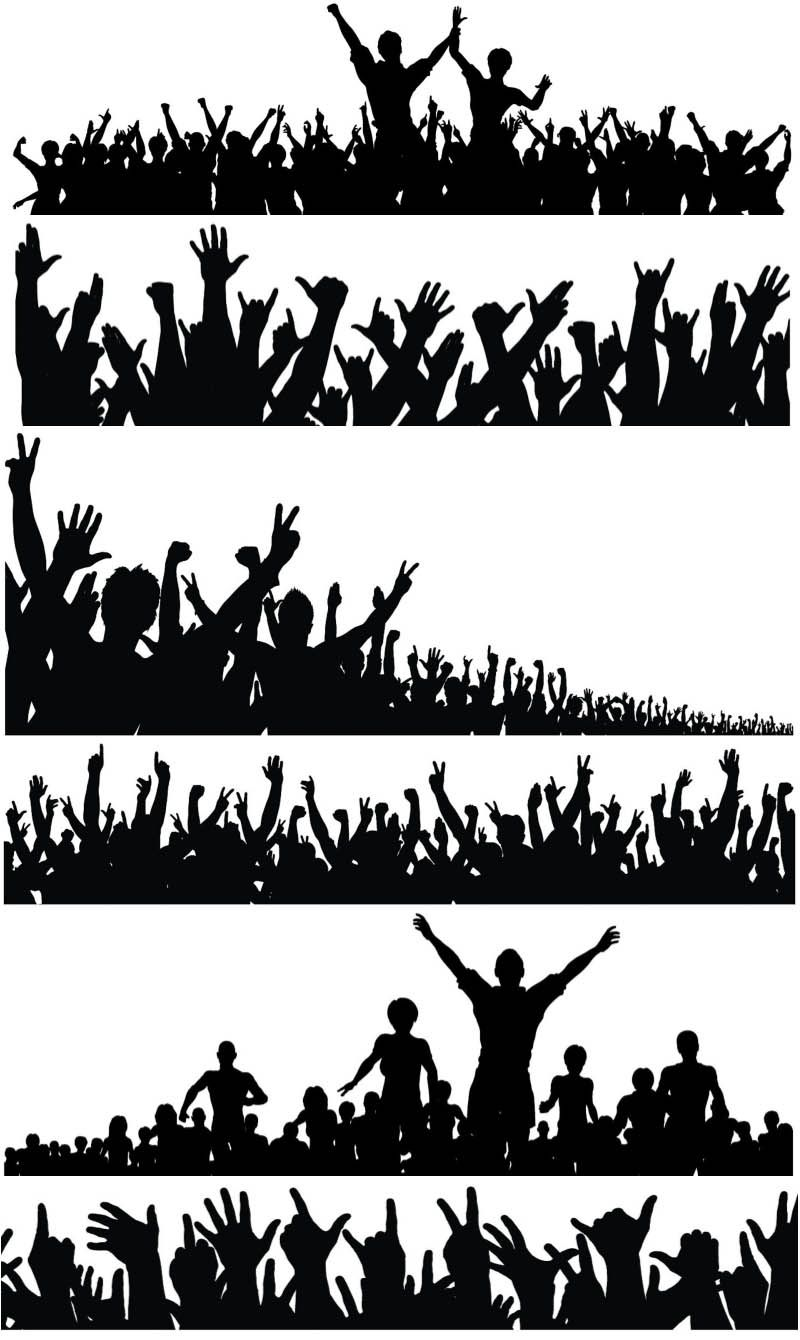 Silhouette Of A Crowd Of People With Their Hands Raised Vectors Ai Eps Free Download Crowd Drawing Silhouette Art Silhouette People