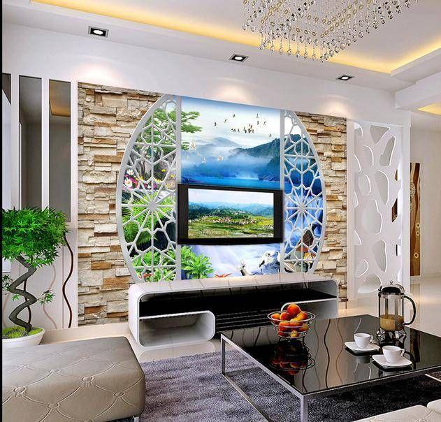 tapete 3d stereoskopischen wasserfall wandtapete papel de parede wandaufkleber dekorationshop. Black Bedroom Furniture Sets. Home Design Ideas