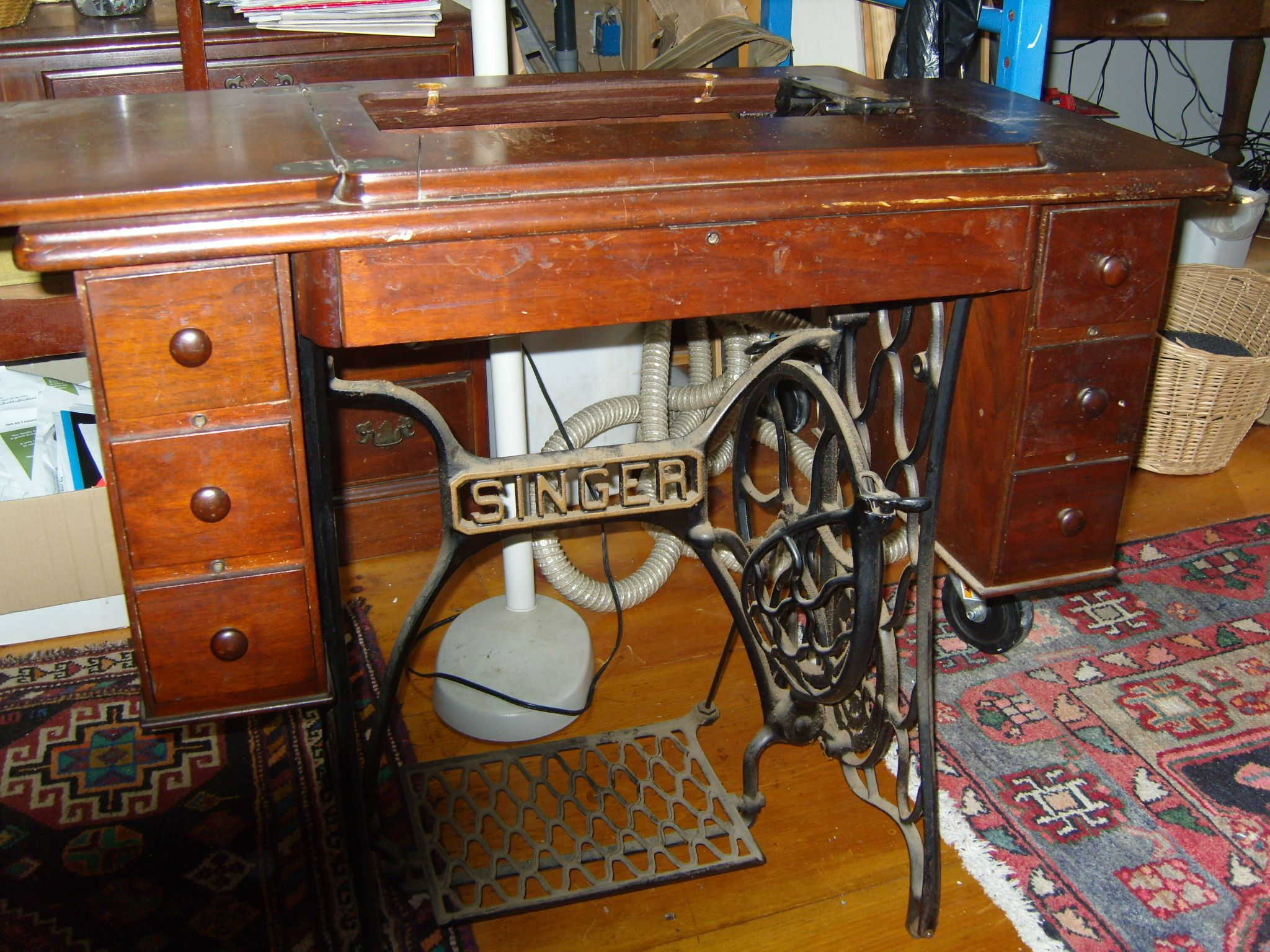 Singer 6 drawer treadle base with machine removed