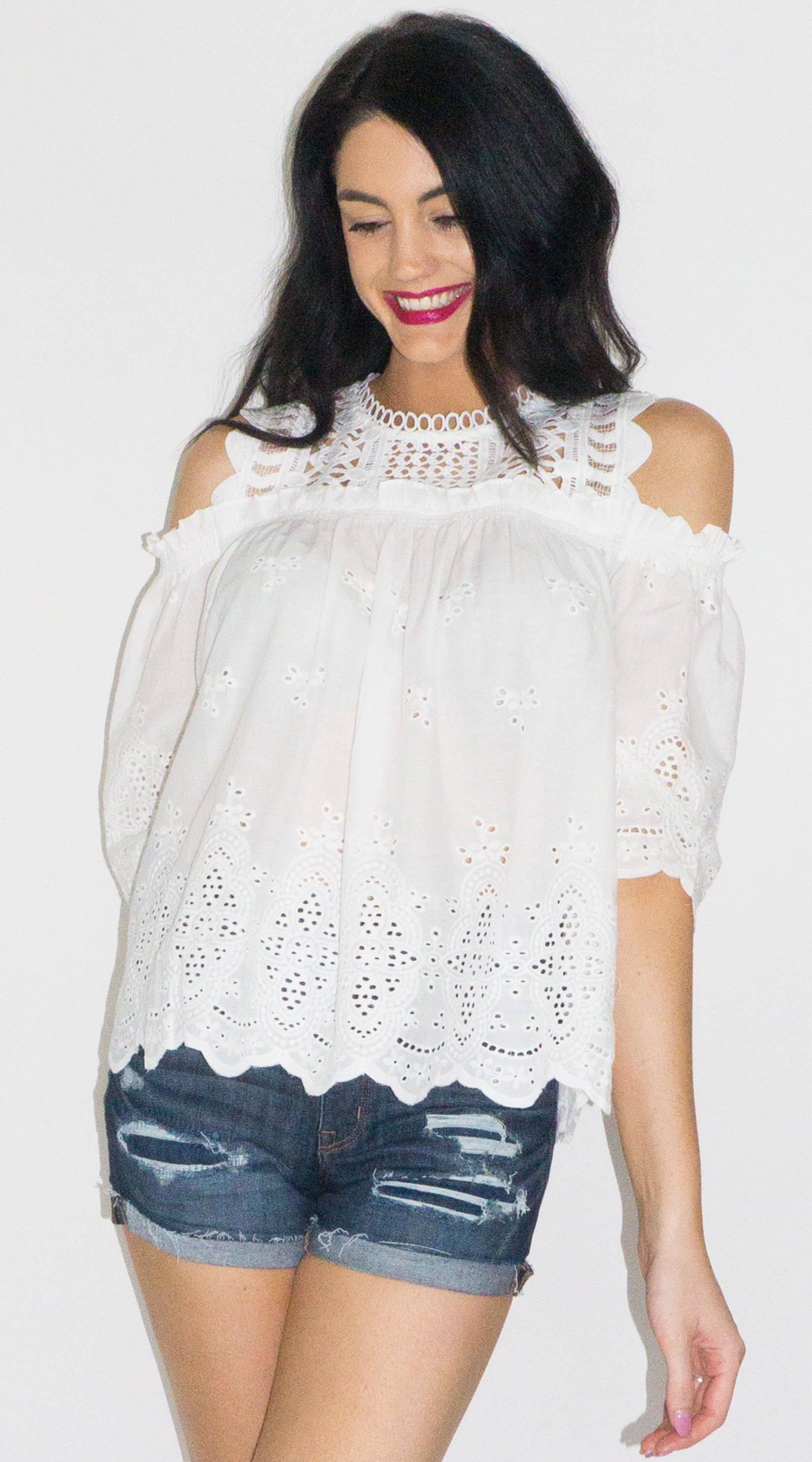 0553579005ee4 White Eyelet Cold Shoulder Top