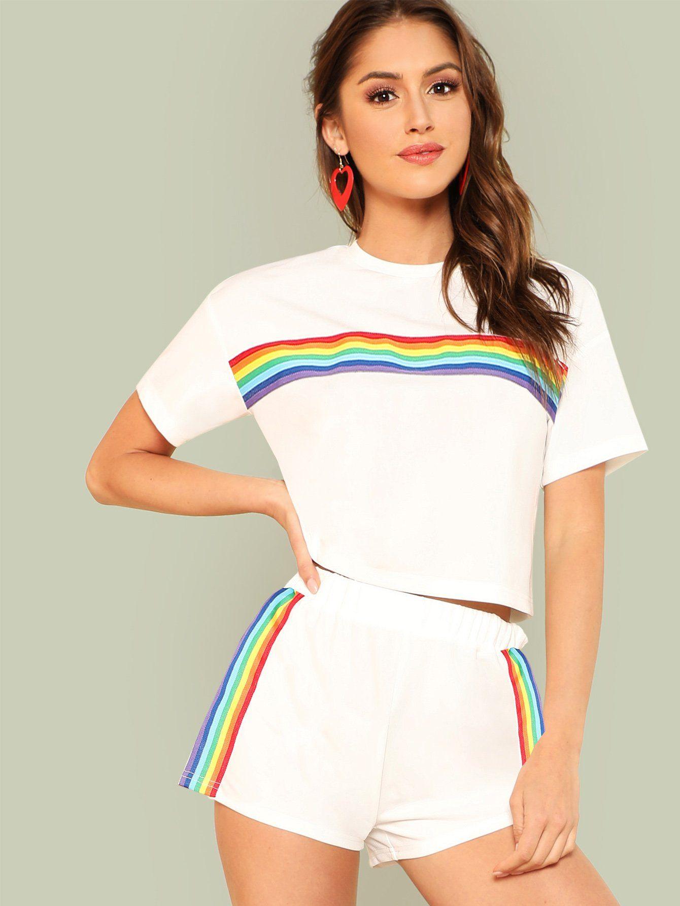 7974a9f8072ffc Rainbow Print Tee   Shorts Set -SheIn(Sheinside)