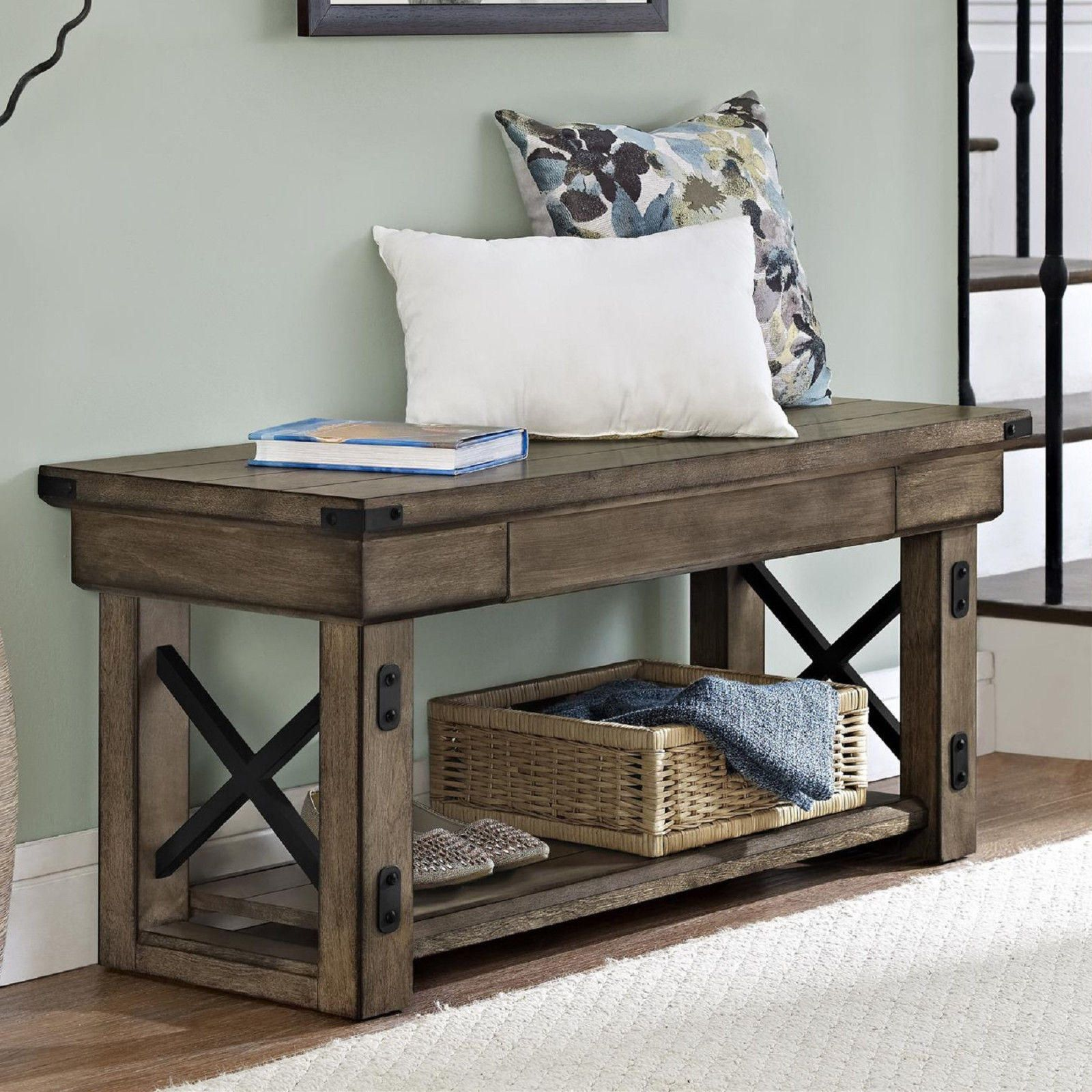 Entryway Storage Bench Rustic Hallway Living Room Bedroom Seat Home