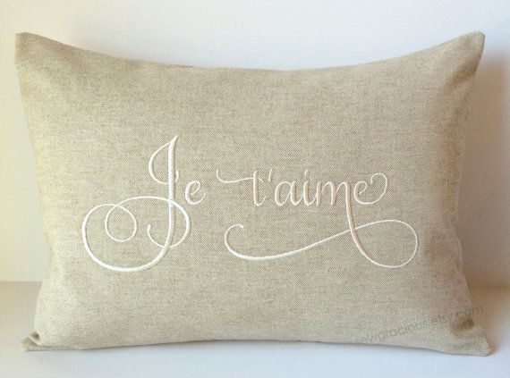 Je Taime Love Monogram Pillow Cover 12 X 16 French I Love You France Foreign Language Throw Pillow Gift C Monogram Pillows Pillow Gift Accent Throw Pillows