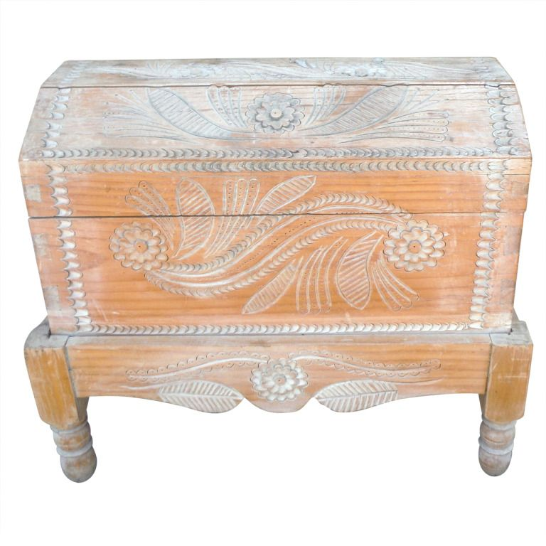 Amazing Early 20thc Hand Carved U0026 Painted Mexican Wedding Trunk On Stand |  From A Unique