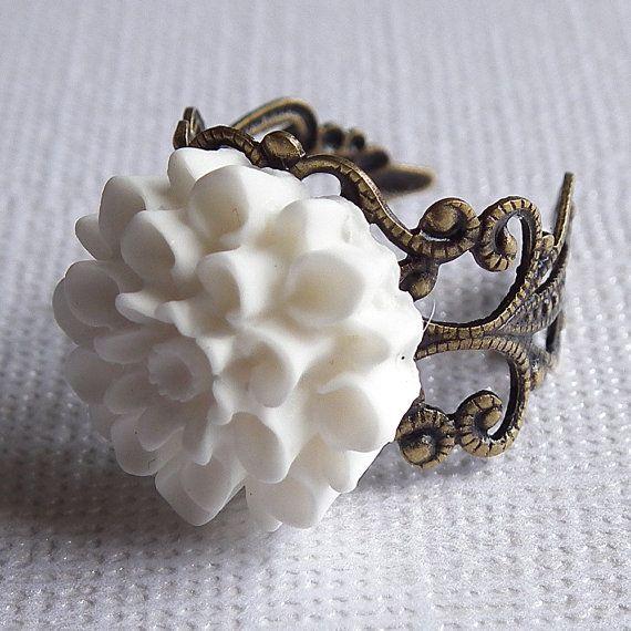 White Flower Ring Dahlia Flower Antiqued Brass Filigree White Flower Ring Flower Ring White Ring