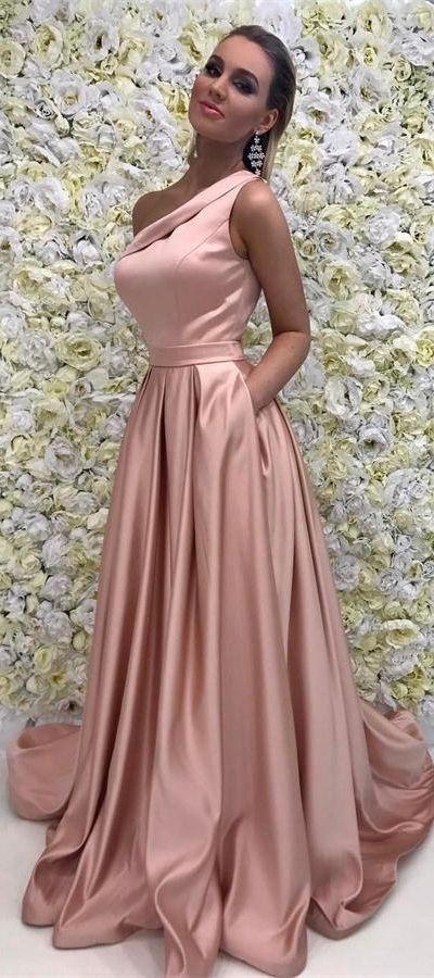 One Shoulder Pink Prom Dresses For Teens #promdresses #promdress ...