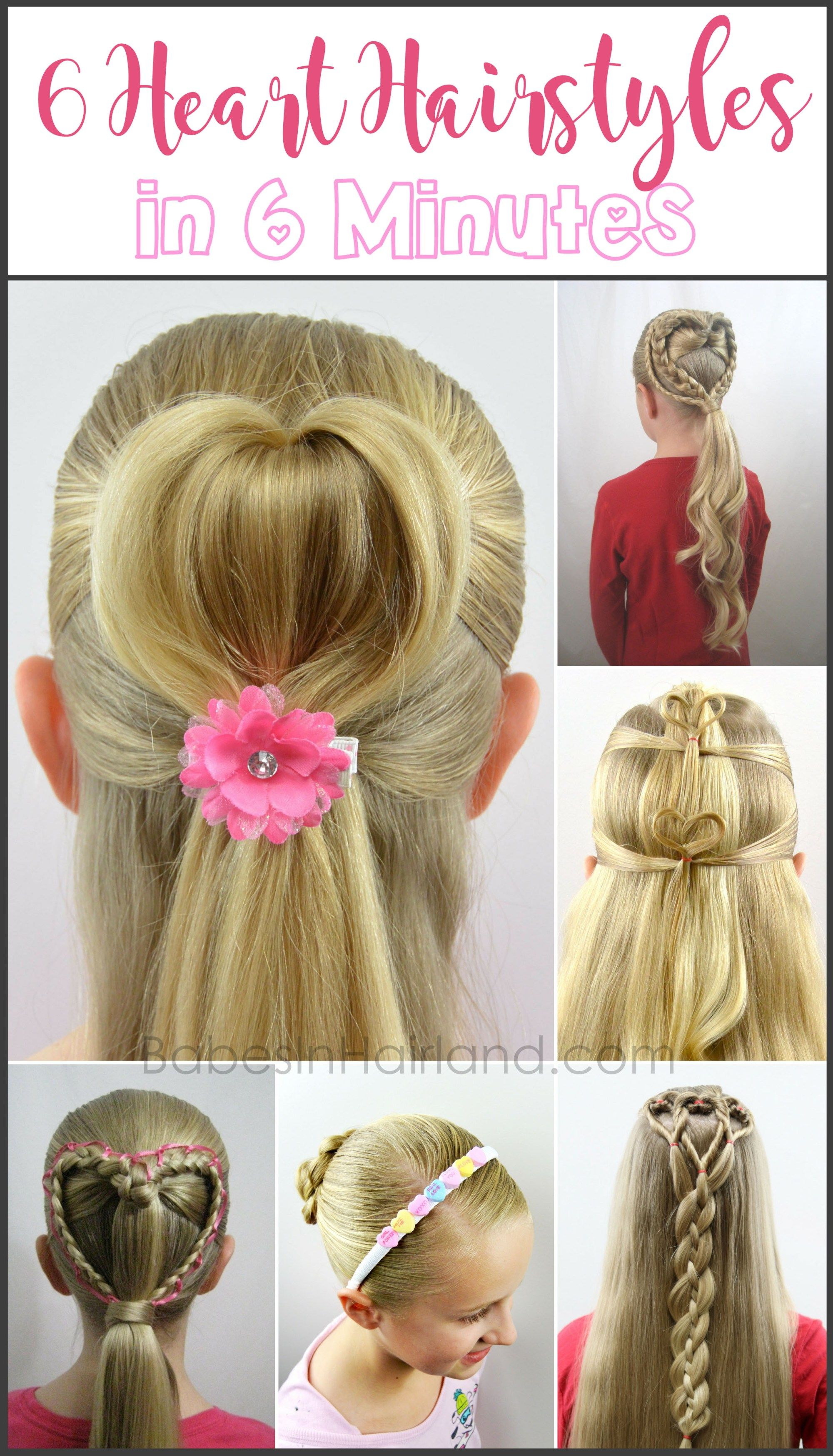 6 Heart Hairstyles in 6 Minutes | Valentine's Day Hairstyles