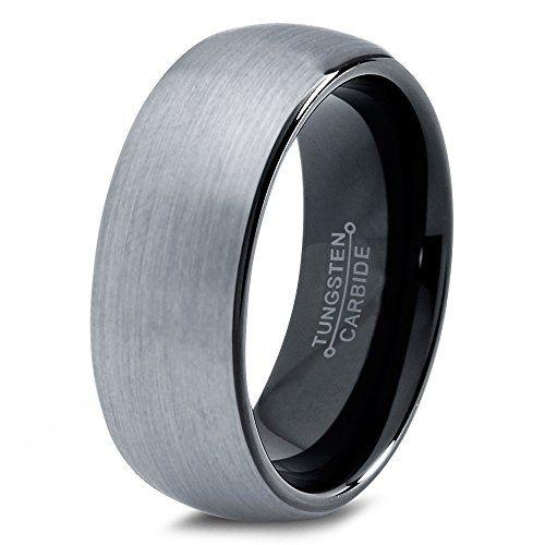 Tungsten Wedding Band Ring 8mm For Men Women Comfort Fit Black Enamel Domed Round Brushed Lifetime Tungsten Wedding Bands Wedding Ring Bands Mens Wedding Rings