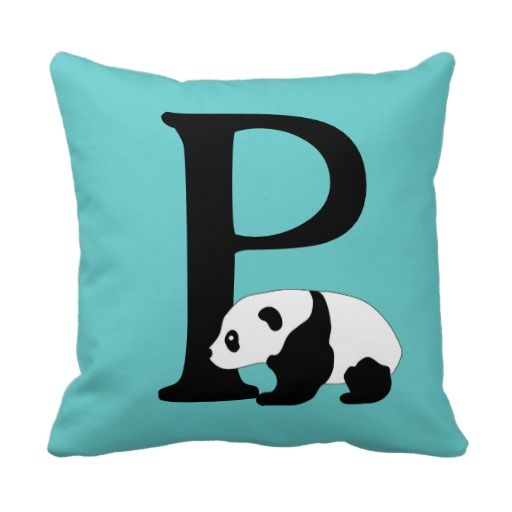 Monogram initial letter P, cute panda bear custom Throw Pillow Initial letters, Panda and Initials