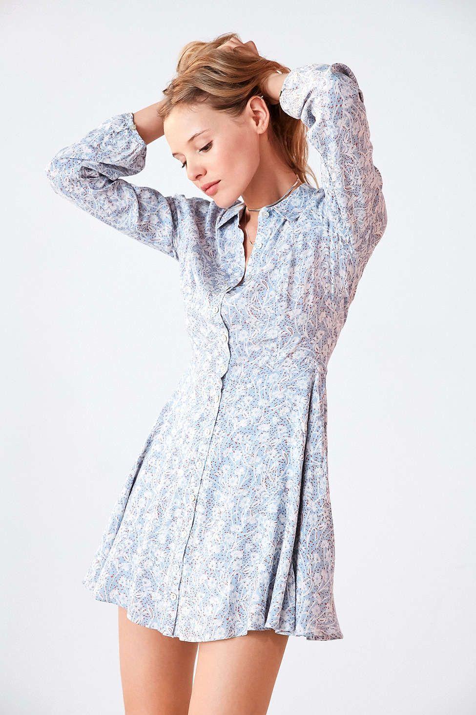 ce9e42bd963 Kimchi Blue Sabrina Floral Long-Sleeve Mini Shirt Dress - Urban Outfitters
