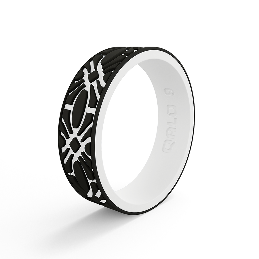Women S Strata Black And White Flora Silicone Ring Qualo Ring Silicone Rings