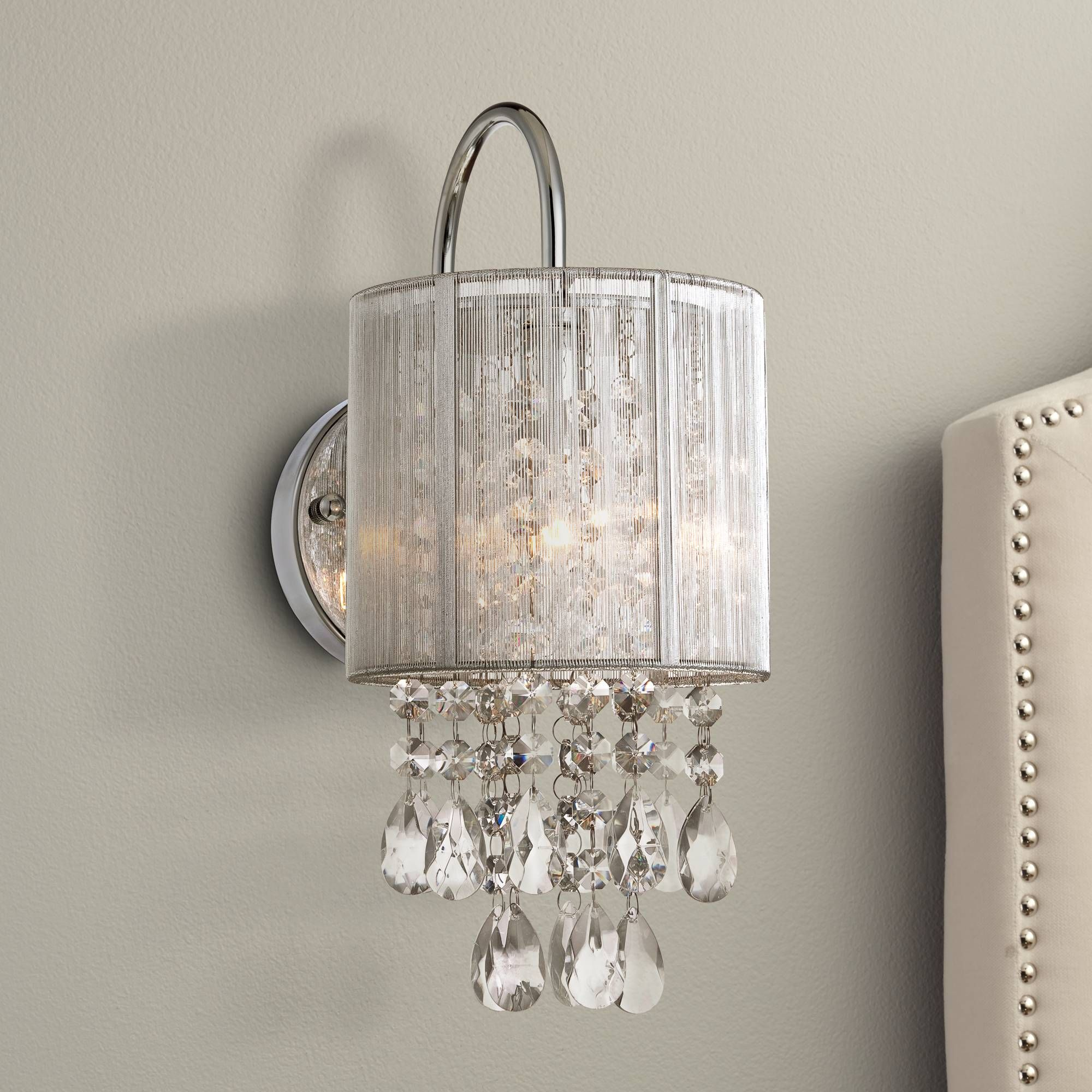 "Possini Euro Silver Line 12""H Chrome and Crystal Sconce"