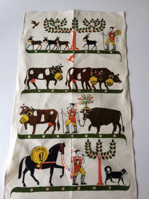Vintage Tea Towel German Lederhosen Cows Goats Dog Folk Art Tree of Life Great