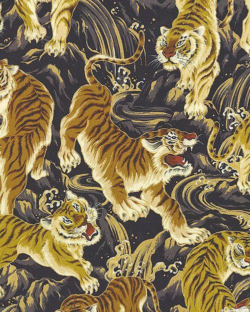 Japanese Import Hyakka Ryoran Tora Tigers Dk Gray Gold Indiskt