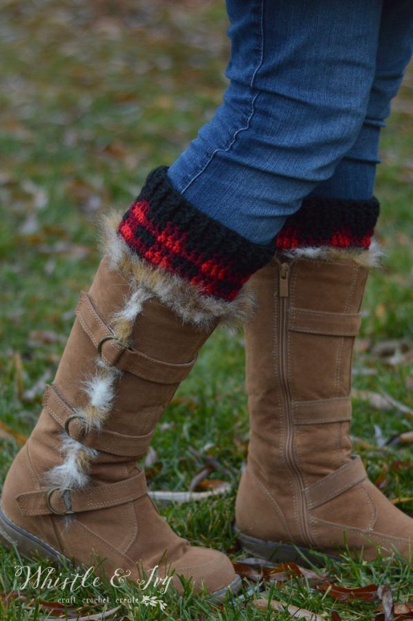 Crochet Plaid Boot Cuffs | Crochet | Pinterest