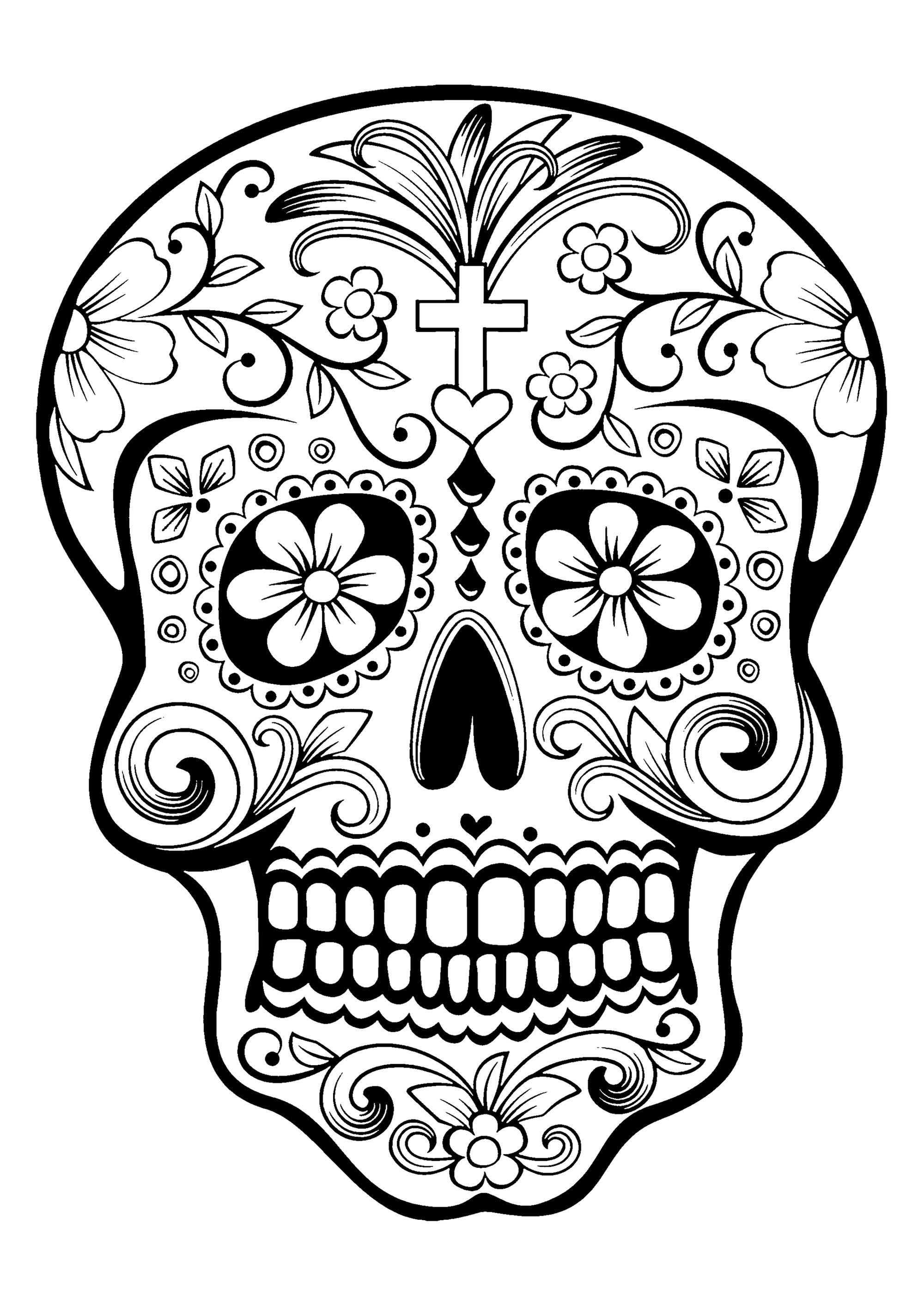 El Dia De Los Muertos Day Of The Dead Coloring Page
