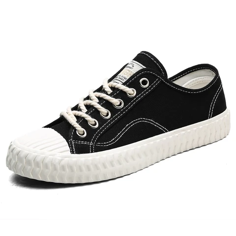 canvas casual shoes male sneakers lace up student shoes in