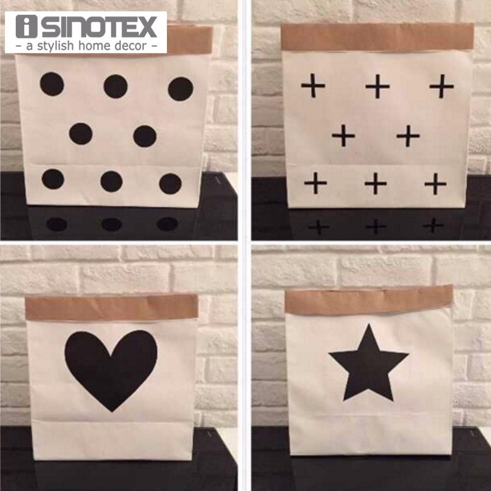 INS Kraft Paper Shopping Bag Children Toys Organizer Living Room Bag  Folding Storage Shopping Bags