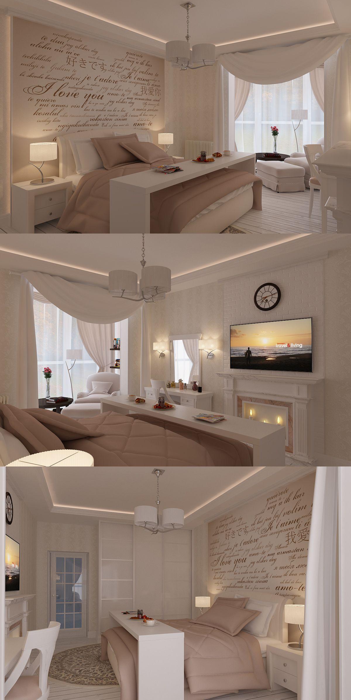 der tisch ber dem bett ist cool und die vorh nge schlafzimmer pinterest. Black Bedroom Furniture Sets. Home Design Ideas