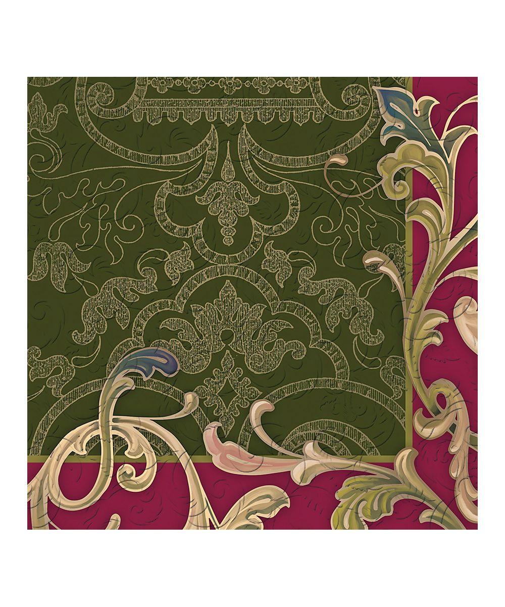Green & Red Baroque Splendor Embossed Paper Luncheon Napkin