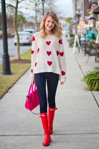 c6cf2ab33e1 Women s  White and Red Print Crew-neck Sweater