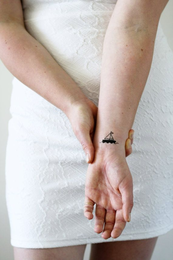 2 small boat temporary tattoos / ship temporary tattoo / sailor ...