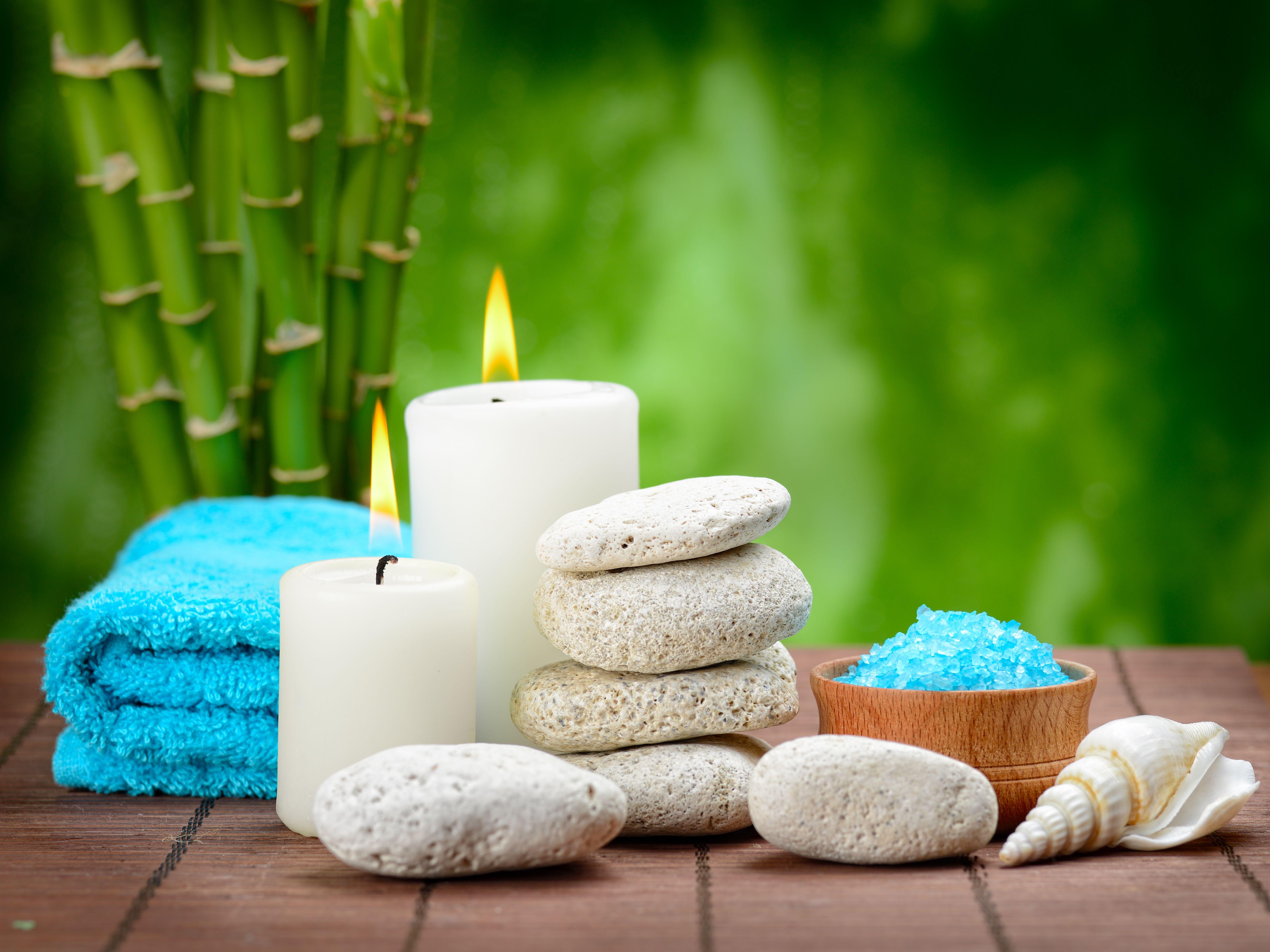 Wallpaper Spa Zen Stones Candles Bamboo Spa Stones