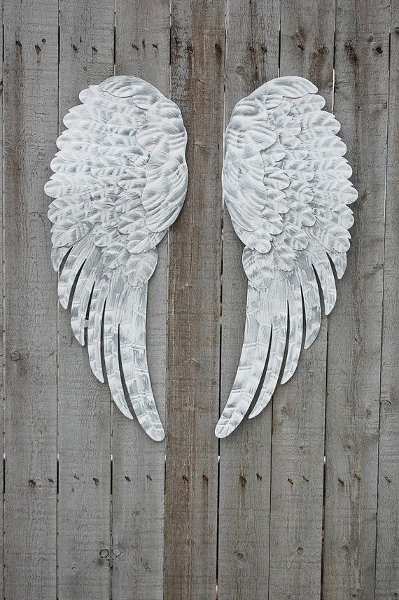 Angel Wings Hand Painted Shabby Chic White Silver Large Metal Upcycled Shabby Chic Decor