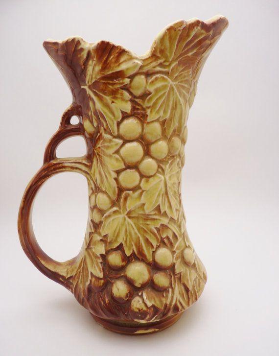 Mccoy Pottery Grape Pitcher Vase Nelson By Castawaycollectibles